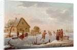 Figures Skating in a Winter Landscape by Hendrik Willem Schweickardt