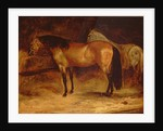 A Bay Horse at a manger, with a grey horse in a rug by Theodore Gericault