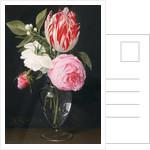 Flowers in a glass vase by Daniel Seghers