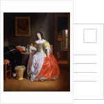 Lady in a yellow and red dress by Samuel van Hoogstraten