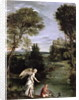Landscape with Tobias laying hold of the Fish by Domenichino