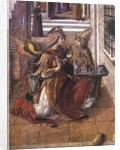 The Annunciation with St. Emidius, detail of the archangel Gabriel with the saint by Carlo Crivelli
