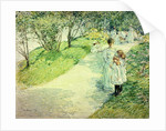 Promenaders in the garden by Childe Hassam
