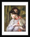 Young woman adjusting her blouse by Pierre Auguste Renoir
