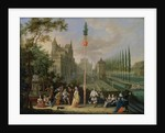 Elegant figures playing musical instruments around a maypole by Pieter Gysels