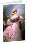 Elegant woman in a rose garden by Felix Hippolyte-Lucas