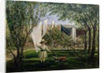 A Garden Scene, with a boy, the artist's son George Dunlop Leslie by Charles Robert Leslie
