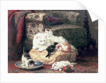 Cat with her Kittens on a Cushion by Henriette Ronner-Knip