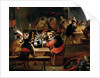 Monkeys in a Tavern, detail of the card game by Ferdinand van Kessel