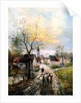 A Shepherdess Leads Her Flock into the Village by Lothar Michael Burger