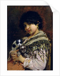 Gypsy Girl with Two Puppies by Willem Johannes Martens