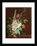 Hollyhocks and Other Flowers in a Vase by Jan van Huysum