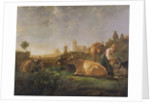 A Distant View of Dordrecht with Sleeping Herdsman and Five Cows ('The Small Dort') by Aelbert Cuyp
