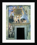 Putti with butterfly wings supporting the dedicatory plaque with hunting dogs and their handlers below by Andrea Mantegna