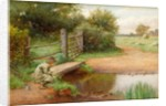 'Trying his Luck', Fishing in the brook by Charles Edward Wilson