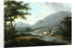 Landscape with cattle by English School