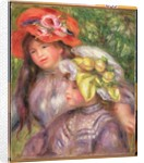 Heads of Two Girls with Hats, c.1910 by Pierre Auguste Renoir