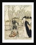 How Beaumains defeated the Red Knight, and always the damosel spake many foul words unto him by Arthur Rackham