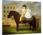 Two Children Seated On A Black Pony by Nathan Theodore Fielding
