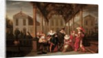 A merry company playing music under a flowered porch in a garden by Dirck Hals