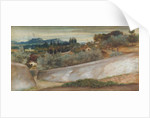 A Tuscan landscape with village and olive grove by John Roddam Spencer Stanhope