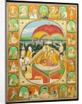 Rama and Sita Enthroned, worshipped by Shiva, Hanuman and others, 1800-20 by Indian School