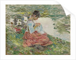 Girl Sewing by River, c.1891 by Theodore Robinson
