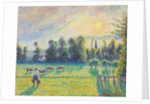 Pasture, Sunset, Eragny by Camille Pissarro