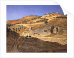 A hilly landscape with Arabs and a ruined temple by Hubert Sattler