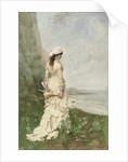 An elegant lady by the sea by Ferdinand Heilbuth