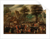 A village festival with elegantly dressed figures in procession, a river and tower beyond by Joris Hoefnagel