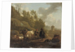 A cowherd and cattle in an Italianate landscape by Willem Romeyn