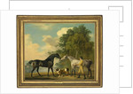 Two hunters with a young groom and a dog by a lake, 1778 by George Stubbs
