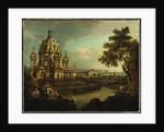 A capriccio with a domed church and buildings in Pirna, c.1765 by Bernardo Bellotto