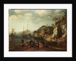 Coastal scene with fishermen and huntsmen on the shore, 1626 by Adam Willaerts