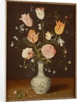 Tulips, roses, forget-me-nots and other flowers in a late Ming blue and white vase by Jan Brueghel