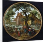 Peasants dancing around a tree in a village street, 1625 by Pieter the Younger Brueghel