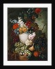 Roses, poppies and other flowers in a sculpted vase with fruit, a mouse and a bird's nest on a stone ledge by Jan van Os