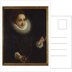 Portrait of a Lady holding a Portrait Miniature of a Gentleman by Lodovico Carracci