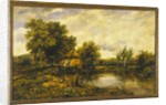 A River Landscape with an Angler by a Mill by Frederick Waters Watts