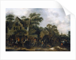 Peasants dancing and feasting in a Village Street by Claes Molenaer