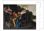 An Elegant Party making Music by an Ornamental Lake by Dirck Hals