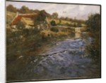 River Landscape with a Washerwoman by Fritz Thaulow