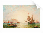 A trading brig and other vessels off the entrance to Scarborough by John Wilson Carmichael