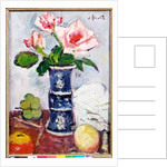 Pink Roses in a Chinese Blue and White Gu-shaped Vase by George Leslie Hunter