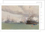 L'Entente Cordiale: The Royal Yacht Victoria & Albert III reviewing the Anglo-French fleet in Cowes Road, 1905 by Eduardo de Martino