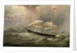 The Black Ball Line clipper ship Ocean Chief reducing sail on her Australian run, c.1853 by Samuel Walters
