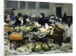 A Vegetable Stand, at Les Halles Centrales, Paris, 1878 by Victor Gabriel Gilbert