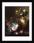 Tulips in a Vase and Roses in a Basket on a Stone Ledge by Ange-Louis-Guillaume Lesourd-Beauregard