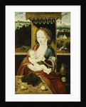 The Madonna and Child, Seated Under a Canopy, at a Table with Fruit, in a Landscape by Joos van Cleve